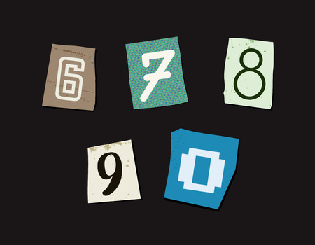 abduct: Colorful Newspaper Cut Numbers Set Illustration