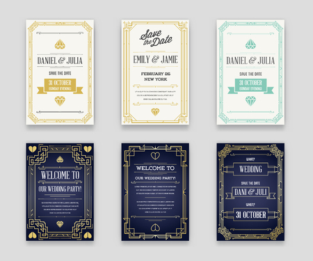 epoch: Set of Great Quality Style Invitation in Art Deco or Nouveau Epoch 1920s Gangster Era Collection Vector Illustration