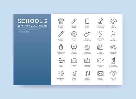 Conjunto de iconos de la escuela de vector Ilustración