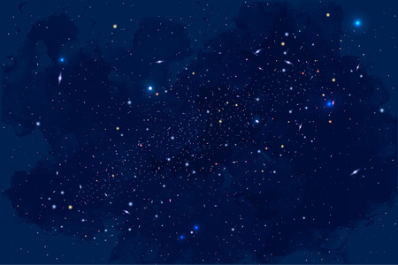 Vector Cosmology Illustration with Universe, Galaxy, Sun, Planets and Stars. Can be used for Invitation or Booklet. Futuristic view with Depth and Space Background Vettoriali