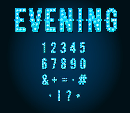 retro font: Neon Casino or Broadway Signs style light bulb Digits or Numbers in Vector
