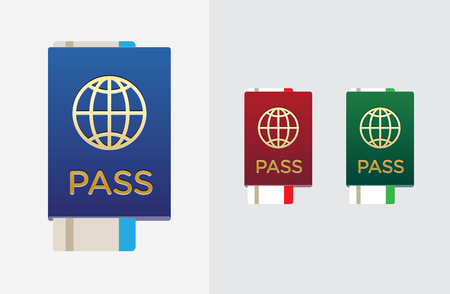 citizenship: Set of Citizenship or Foreign Passport ID in Vector Colorful Icon can use Illustration