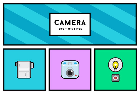 90s: Vector 80s or 90s Stylish Photo Camera Icon Set with Retro Colors Illustration