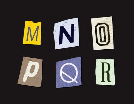 typesetter: Colorful Newspaper Cut Letters Set Illustration