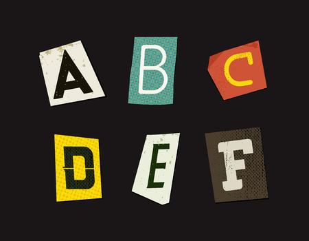 blackmail: Colorful Newspaper Cut Letters Set Illustration