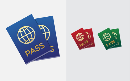 citizenship: Set of Citizenship or Foreign Passport ID in Vector Colorful Icon