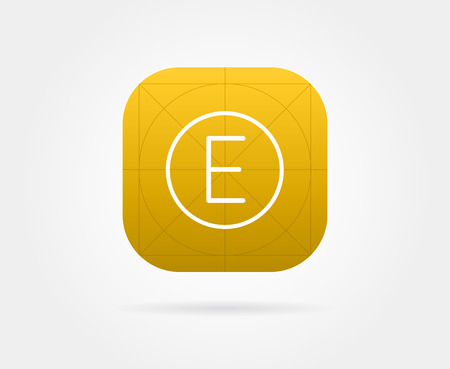 App Icon Template with Guidelines. Vector Fresh Colour Illustration