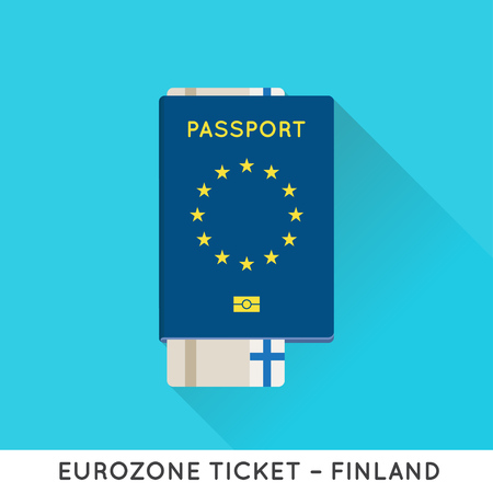 foreign nation: Eurozone Europe Passport with tickets vector illustration. Air Tickets with EU National Flag.