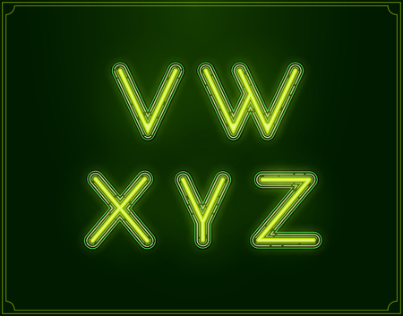 Neón Tipo de fuente del alfabeto. Brillante en vector. Vectores