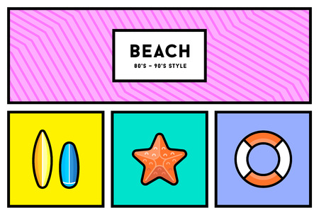 90s: Vector 80s or 90s Stylish Icon Set with Retro Colours