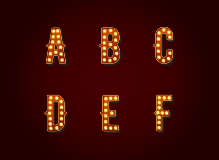 show case: Casino or Broadway Signs style light bulb Alphabet Letter Character in Vector Set