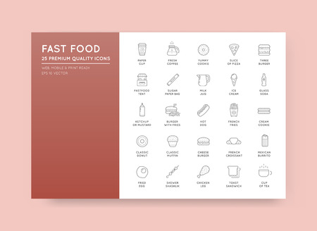 Set of Vector Fastfood Fast Food Elements Icons and Equipment as Illustration