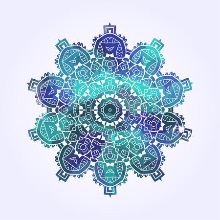 Ethnic Psychodelic Fractal Mandala Vector Meditation looks like Snowflake