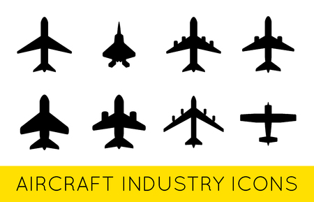 Aircraft or Airplane Icons Set Collection Vector SilhouetteSet Colletion Illustration