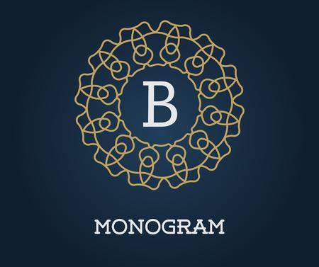 blue navy: Monogram Design Template with Letter Vector Illustration Premium Elegant Quality Gold on Navy Blue Vectores