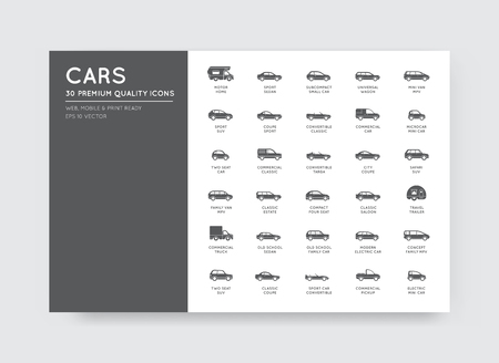 cabrio: Vector Car Icons Set with All Car Types and Names Illustration
