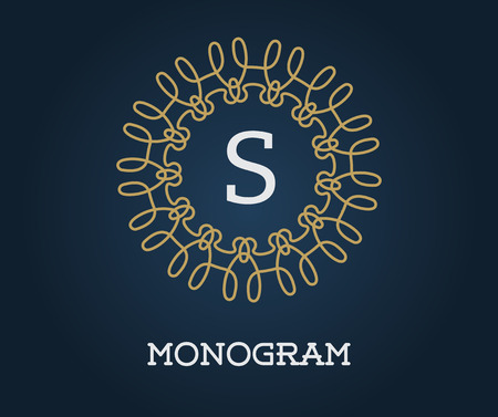 azul marino: Monogram Design Template with Letter Vector Illustration Premium Elegant Quality Gold on Navy Blue Vectores