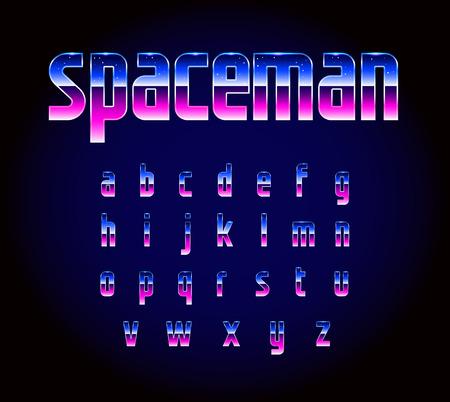 80s Retro Futurism Sci-Fi Font Alphabet Vector Illustration