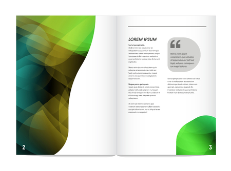 blend: Visual identity with letter  elements bright gradients blend style. Brochure inside pages template mockup for business with Fictitious name Illustration