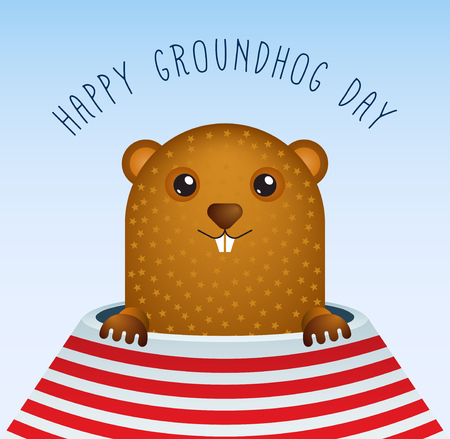 burrow: Happy Groundhog Day with Groundhog Vector