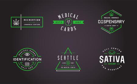 医療大麻マリファナ記号またはベクトルでラベル テンプレートのセット。ロゴタイプとして使用できます。
