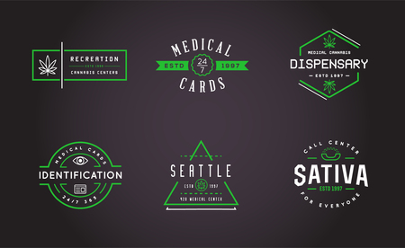 cannabis sativa: Set of Medical Cannabis Marijuana Sign or Label Template in Vector. Can be used as a Logotype. Illustration
