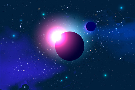 cosmology: Vector Cosmology Illustration with Universe, Galaxy, Sun, Planets and Stars. Can be used for Invitation or Booklet. Futuristic view with Depth and Space Background Illustration