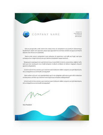 blend: Visual identity with letter   elements bright gradients blend style. Brochure cover template mockups for business with Fictitious name Illustration
