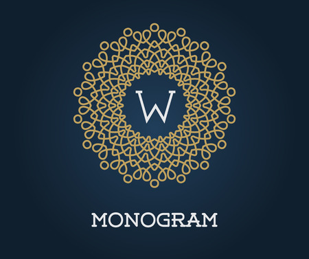 navy blue: Monogram Design Template with Letter Vector Illustration Premium Elegant Quality Gold on Navy Blue Illustration