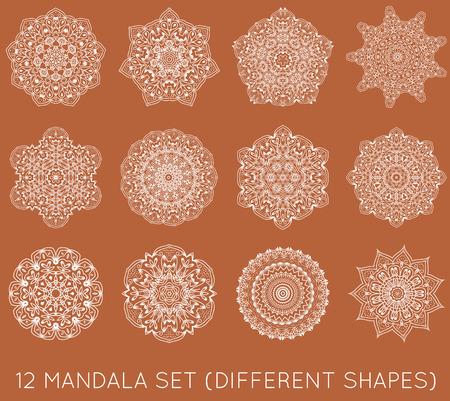 Set of Ethnic Fractal Mandala Vector Meditation Tattoo looks like Snowflake or Maya Aztec Pattern or Flower too Isolated on White