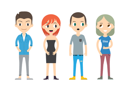 mixed race girl: Diverse Vector People Set. Men and women, Different poses. Flat Cartoon Style.