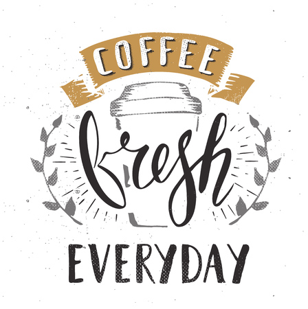 calligraphy pen: Coffee Cafe Fresh Everyday Fictitious name Template Hand Drawn Calligraphy Pen Brush Vector