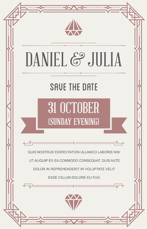 Great Quality Style Invitation in Art Deco or Nouveau Epoch 1920s Gangster Era Style Vector