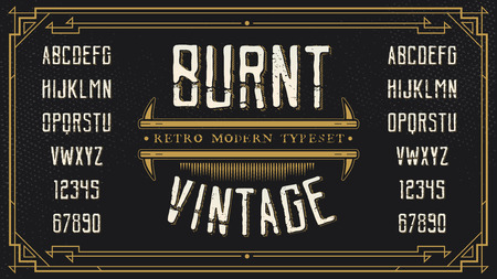 retro font: Vintage Retro Font with Sample Text. Handcrafted Decoration Font.