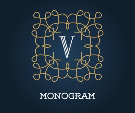 azul marino: Modelo del diseño del monograma del oro con la letra ilustración vectorial de primera calidad elegante Calidad en Azul marino