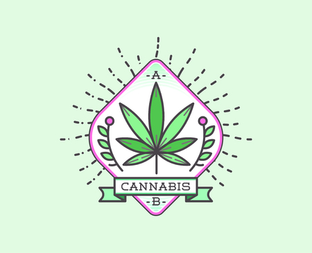 Medical Cannabis Marijuana Sign or Label Template in Vector.