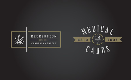 recreational drug: Set of Medical Cannabis Marijuana Sign or Label Template in Vector.