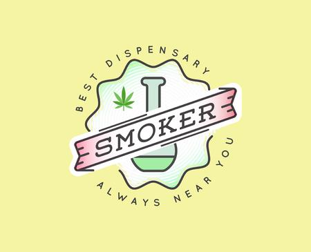 cannabis sativa: Medical Cannabis Marijuana Sign or Label Template in Vector.