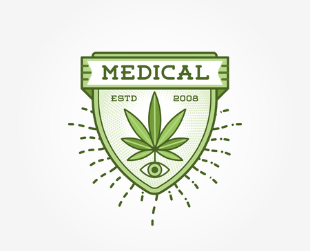 bong: Medical Cannabis Marijuana Sign or Label Template in Vector.