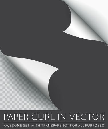 page curl: Vector Paper Page Curl with Shadow Isolated. Illustration