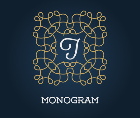 Monogram Design Template with Letter Vector Illustration Premium Elegant Quality Gold on Navy Blue