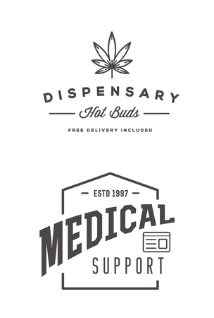 Set of Medical Cannabis Marijuana Sign or Label Template in Vector.