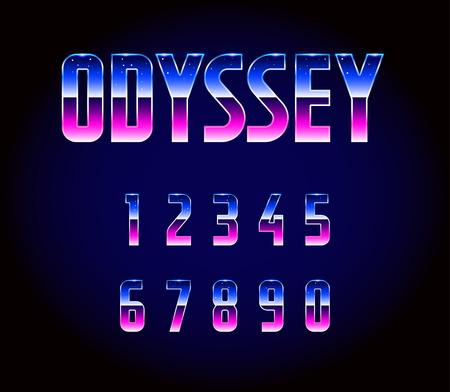 80s: 80s Retro Futurism Sci-Fi Font Numbers Vector