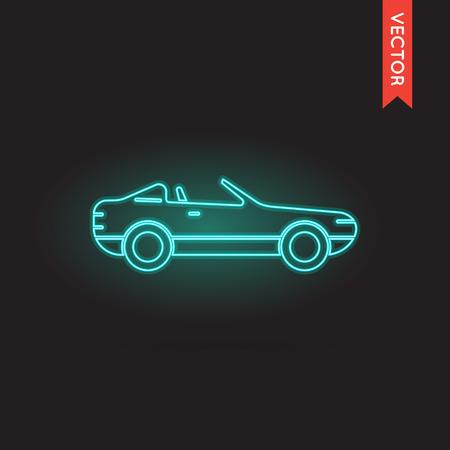 cabrio: Neon Car Icon, Car Icon Vector, Car Icon Object, Car Icon Image, Car Icon Picture, Car Icon Graphic, Car Icon Art, Car Icon Drawing, Car Icon EPS. Illustration