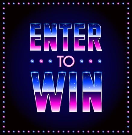 Entrare a vincere Vector Segno, Win Premio, Vinci Lotteria