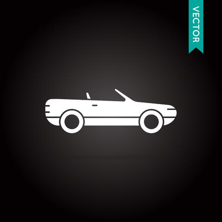 cabrio: Car Icon Vector White on Black