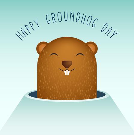 woodchuck: Happy Groundhog Day with Groundhog Vector