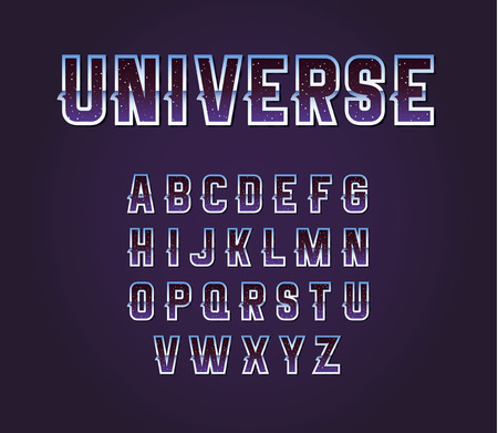 pulsar: Universe 80s Retro Sci-Fi Font Alphabet Vector Set