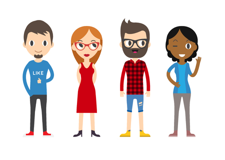 Diverse Vector People Set. Men and women, Different poses. Flat Cartoon Style.