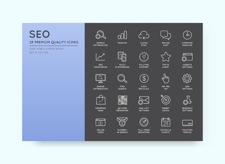 optimisation: Set of Vector SEO Search Engine Optimisation Elements and Icons Illustratio
